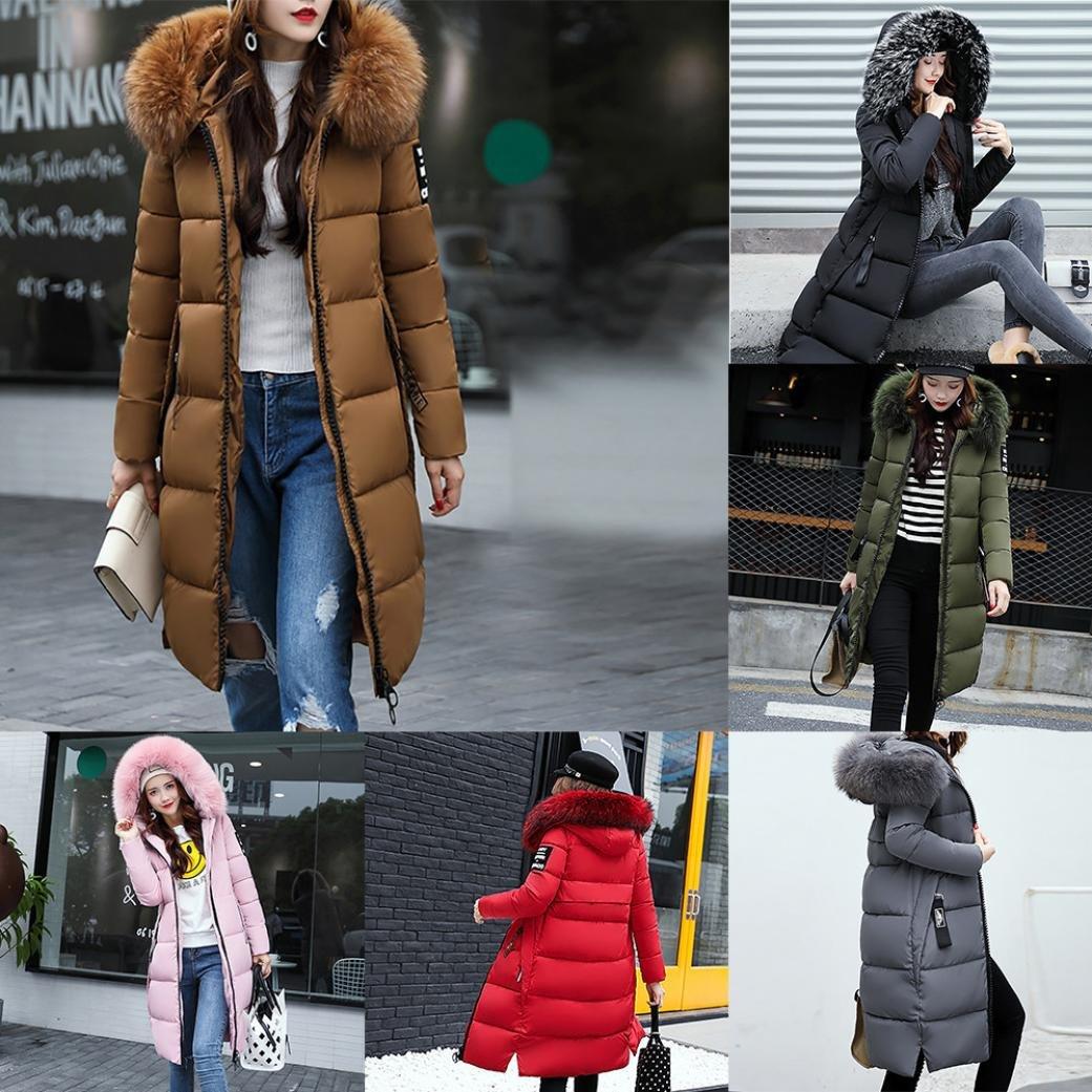 dfc596cec84b Amazon.com  Misaky Women s Snow Coat Long Down Jacket Puffer Thicker Winter  Parka Overcoat  Clothing