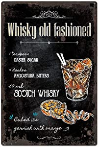 Black Original Design Cocktail Recipe Tin Metal Signs Wall Art| Whisky Old Fashioned |Thick Tinplate Print Poster Wall Decoration for Man Cave/Bar (Wisky Old Fashioned, 8x12 Inches (20x30 cm))