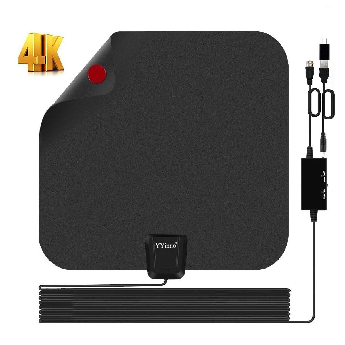 TV Antenna Indoor,HDTV Antenna TV Digital HD 4K,80 Miles Range Max,with Powerful Amplifier Signal Booster and 16.5ft Coax Cable,2018 Newest by YYinno