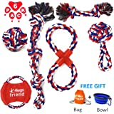4legsfriend Dog Rope Toys - 6 Pack for Medium Large and XL Dogs Who Love to Play Rough and are Aggressive Chewers. Strongest, Red White and Blue Washable Cotton Tough Chewing Toys + Bonus