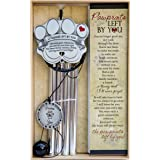 """Pet Memorial Wind Chime - 18"""" Metal Casted Pawprint Wind Chime - A Beautiful Remembrance Gift for a Grieving Pet Owner - Incl"""