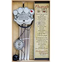 Pet Memorial Wind Chime - 18″ Metal Casted Pawprint Wind Chime - A Beautiful Remembrance Gift for a Grieving Pet Owner - Includes Pawprints Left by You Poem Card
