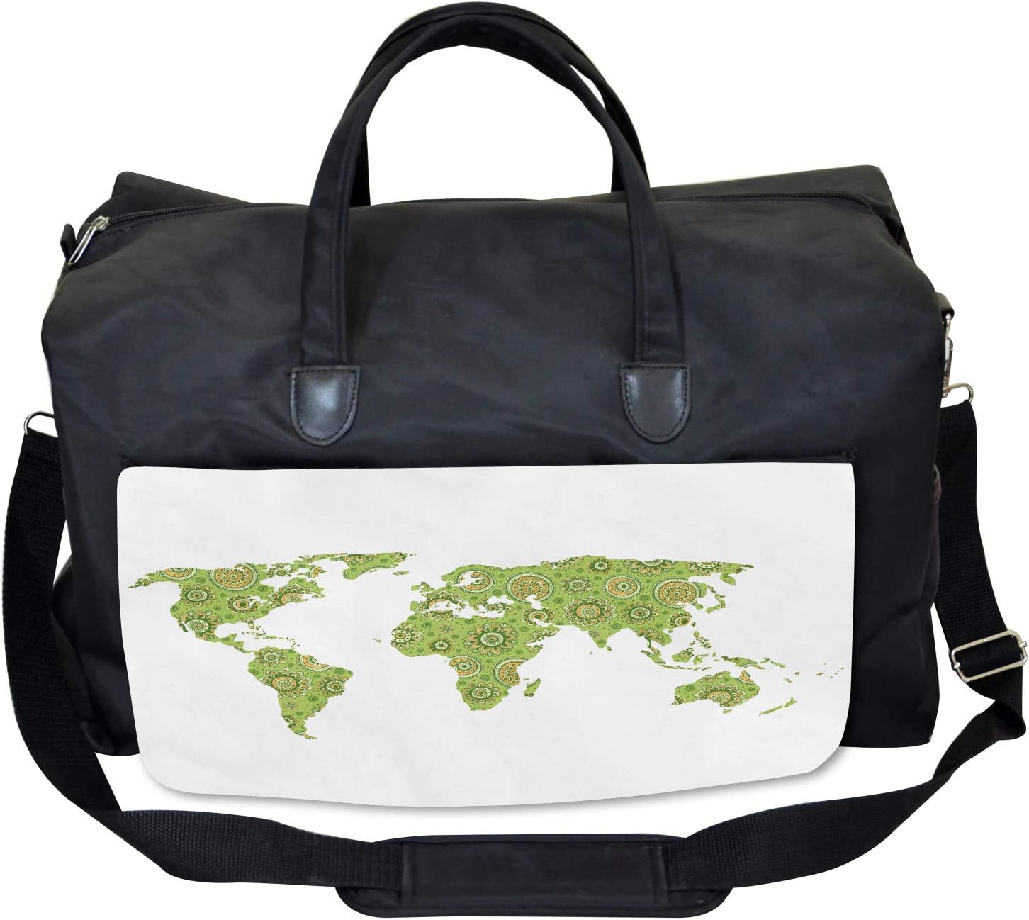 Large Weekender Carry-on Ambesonne World Map Gym Bag Ethnic Chart