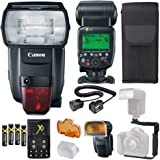Canon Speedlite 600EX II-RT Flash + Canon Speedlite Case + 4 High Capacity AA Rechargeable Batteries and Charger + Flash L Br