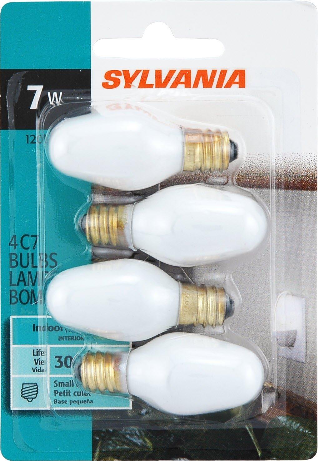Sylvania Home Lighting 13544 Incandescent Light Bulb C7-7W, White Finish, Candelabra Base, 4 Pack by Sylvania Home Lighting