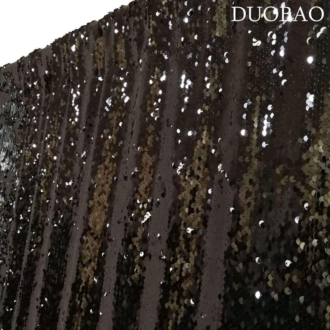 DUOBAO Sequin Backdrop 8Ft Black to White Mermaid Sequin Backdrop Fabric 6FTx8FT Two Tone Sequin Curtains by DUOBAO (Image #4)