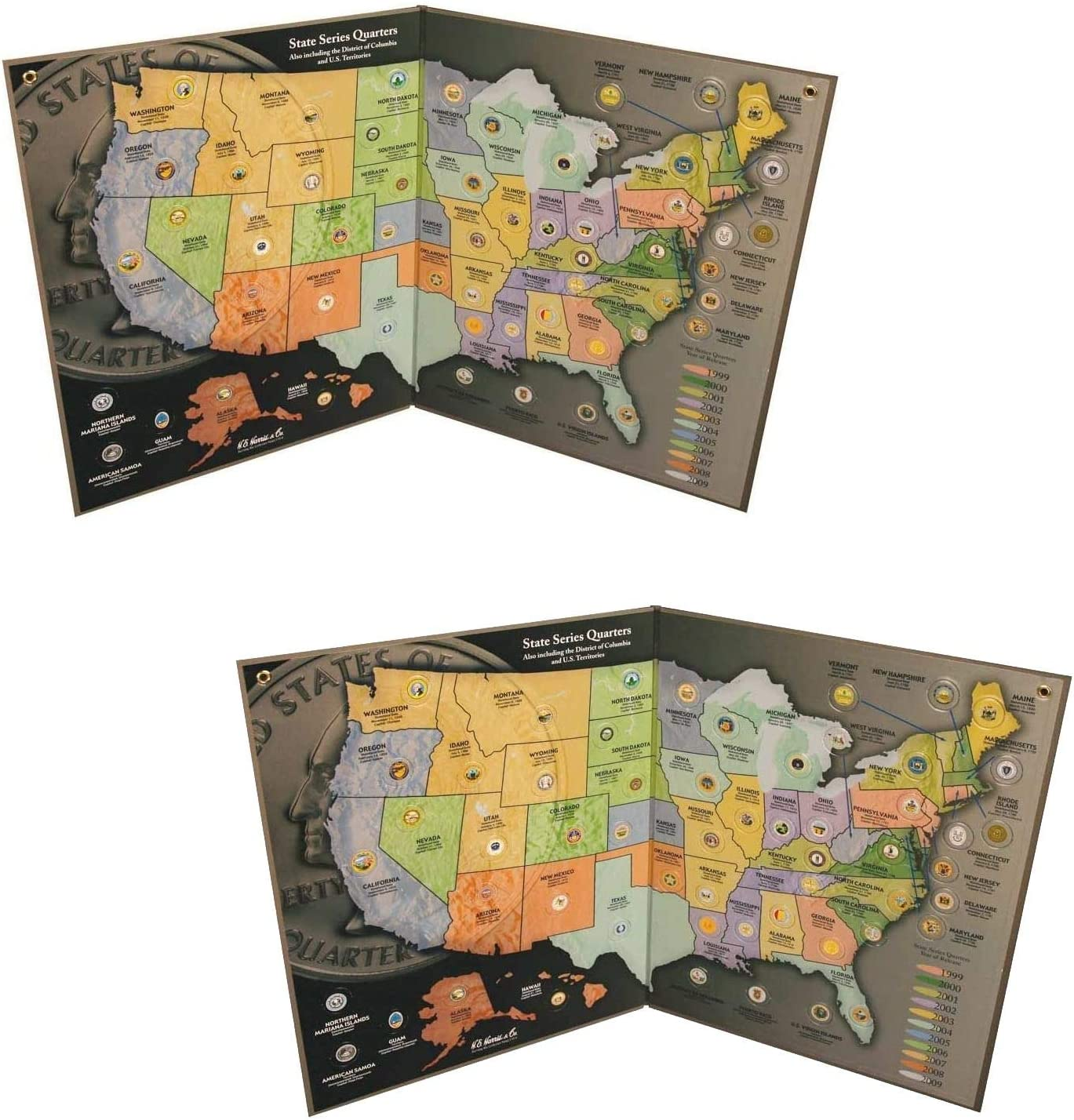 Us State Quarter Map Holder Amazon.com: Coins of America State Quarter Map Double Pack   Us