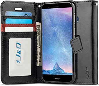 J&D Case Compatible for Huawei Honor V9 / Honor 8 Pro Case, [Wallet Stand] [Slim Fit] Heavy Duty Shock Resistant Flip Cover Wallet Case for Huawei Honor V9, Huwei Honor 8 Pro Wallet Case - Black