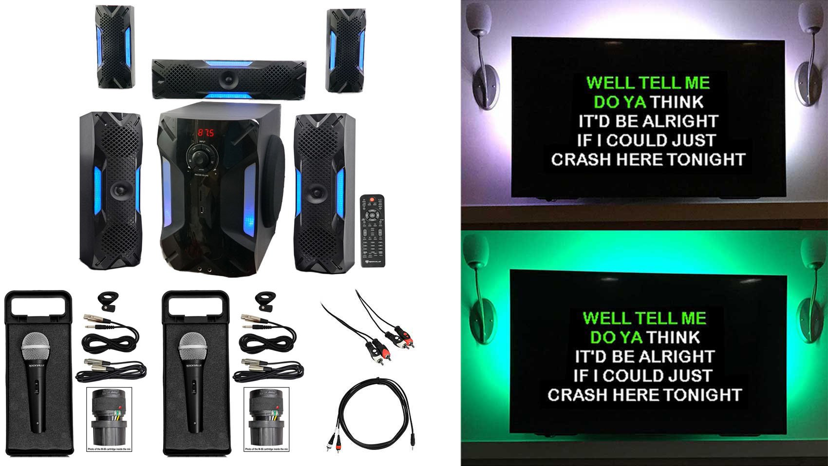 Rockville Bluetooth Home Theater Karaoke Machine System w/8'' Subwoofer + LED'S by Rockville