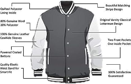 Véritable Housse en cuir Letterman College Varsity Hommes Laine Vestes #GYSL wstr-gyb