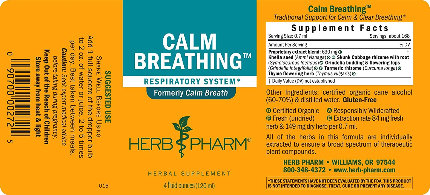 Herb Pharm Calm Breathing Liquid Formula for Respiratory Support – 4 Ounce