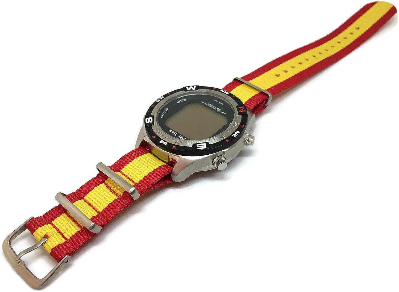 NATO Zulu G10 correa de reloj de nylon bandera española 20 mm: Amazon.es: Relojes