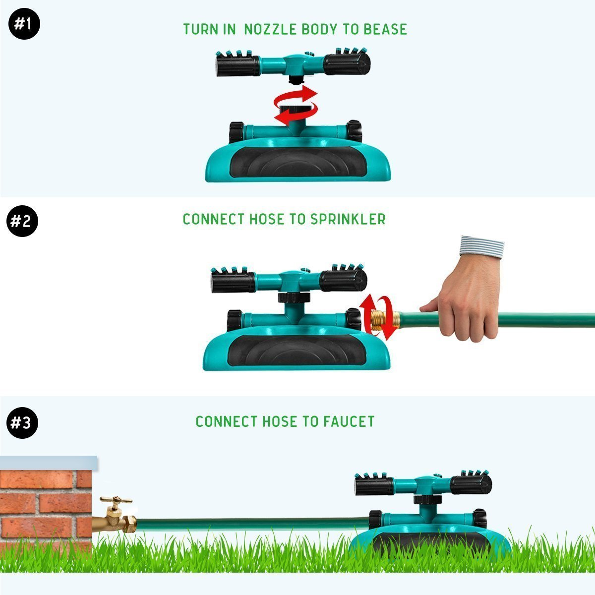 Lawn Sprinkler -Garden Sprinklers Automatic 360 Rotating Adjustable Garden Hose Watering Sprinkler System,Covering Large Area with Leak Free Design Durable 3 Arm Sprayer(Green) by Geelyda (Image #4)