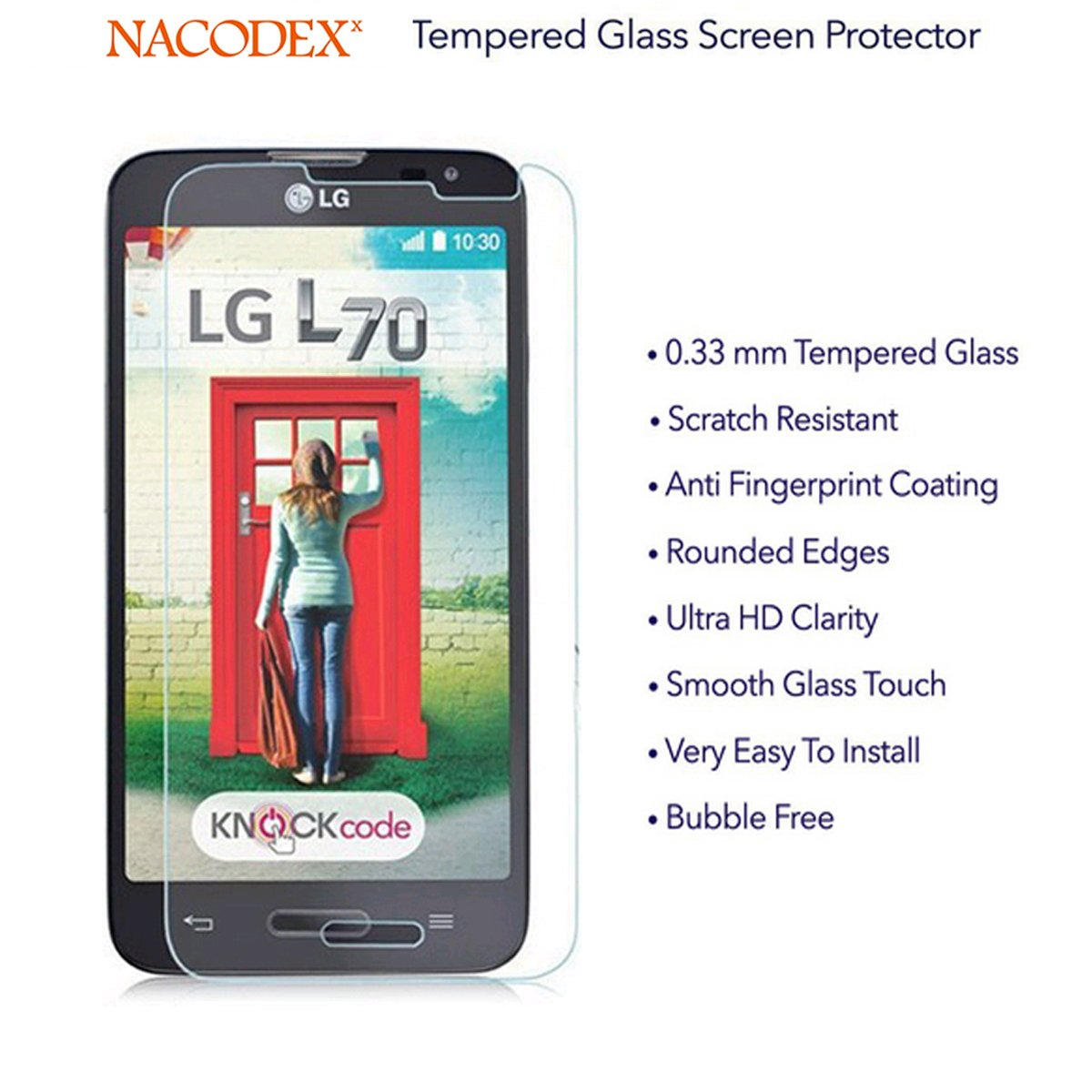 Nacodex for LG Optimus L70 D325 MS323 HD Premium Tempered Glass Screen  Protector