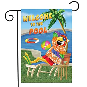 """Briarwood Lane Welcome to The Pool Summer Garden Flag Parrot Tropical 12.5""""x18"""""""