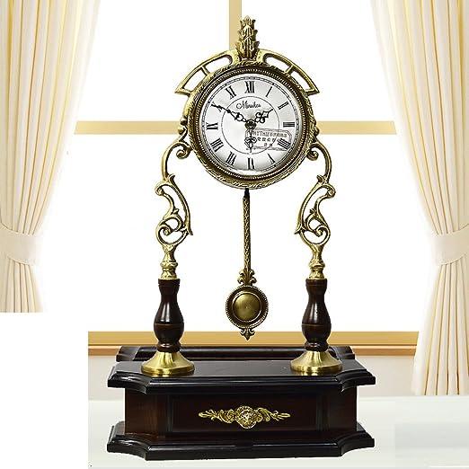 Reloj jardín silencioso antiguo europeo El reloj del rey moderno sala de estar ideas péndulo hoja del reloj-A: Amazon.es: Hogar
