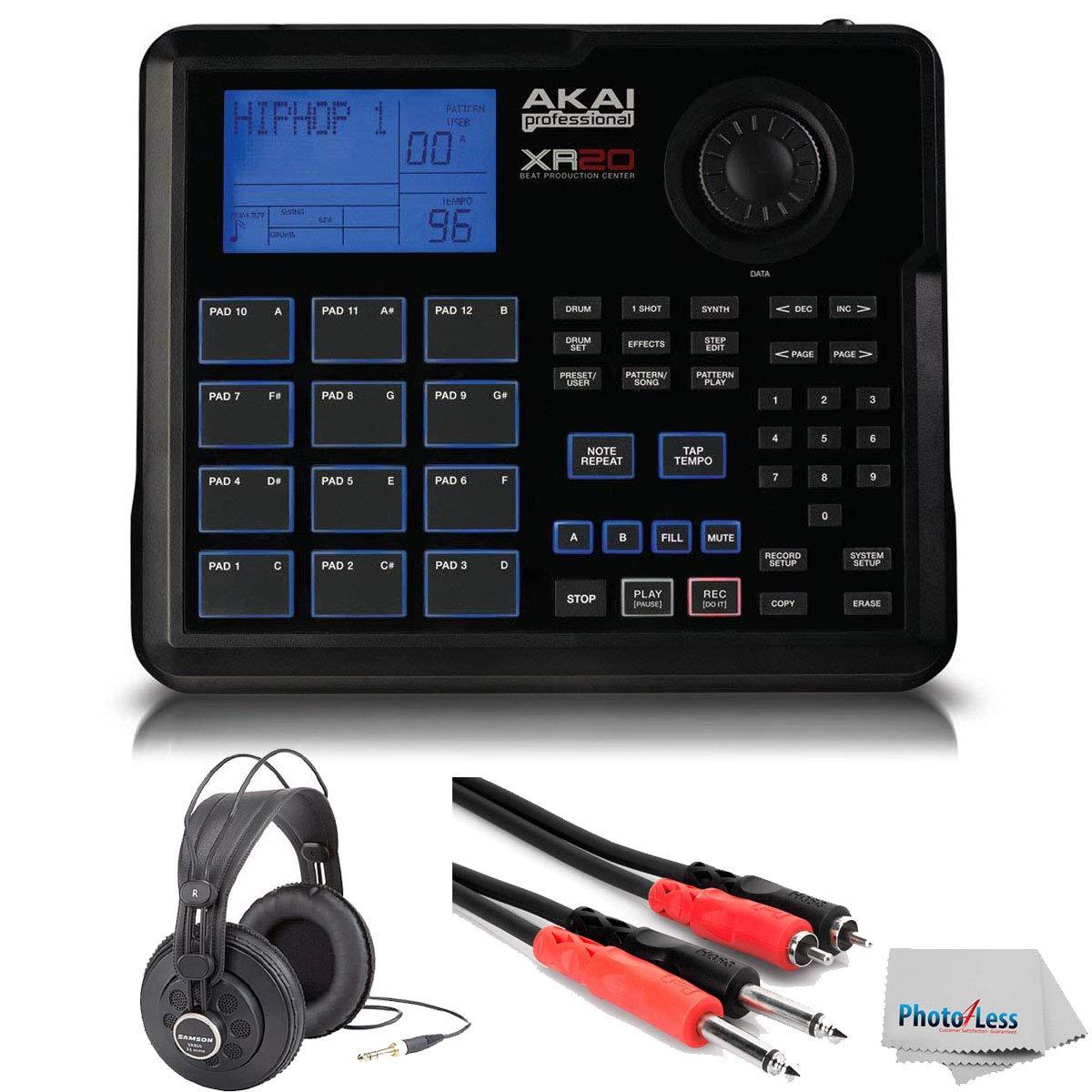 Akai Professional XR20 | Beat Production Station Drum Machine + Studio Headphones + Stereo Interconnect Cable & Clean Cloth by Akai