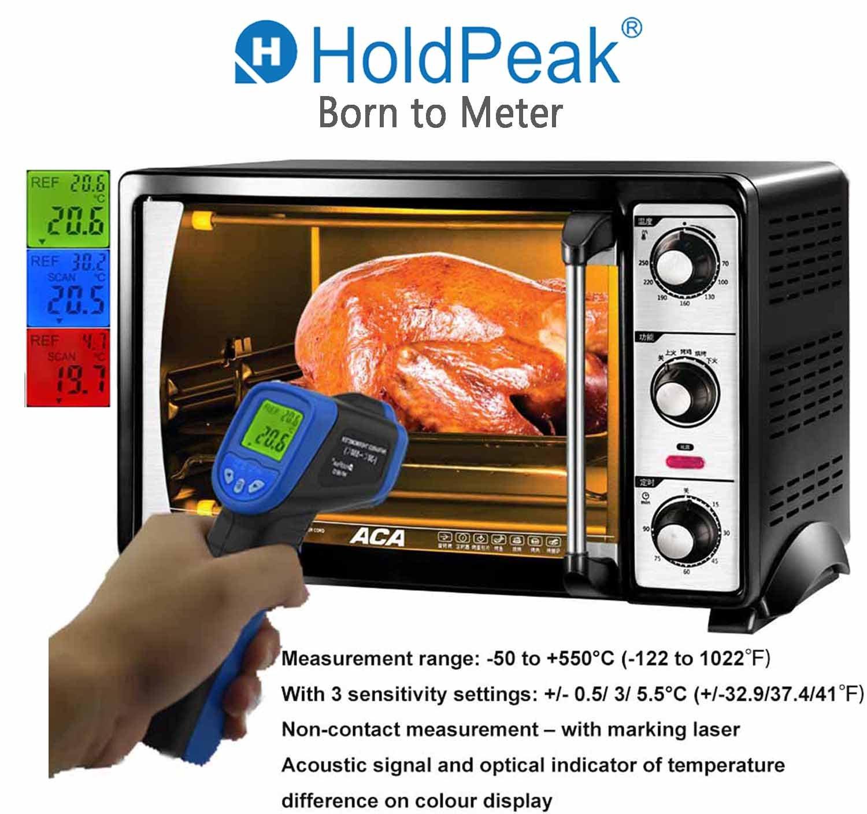 HP-981 Serie HP-981C blue und Au/ßenbereich kabellos HoldPeak Ber/ührungsloses Infrarot-Thermometer f/ür den Innen