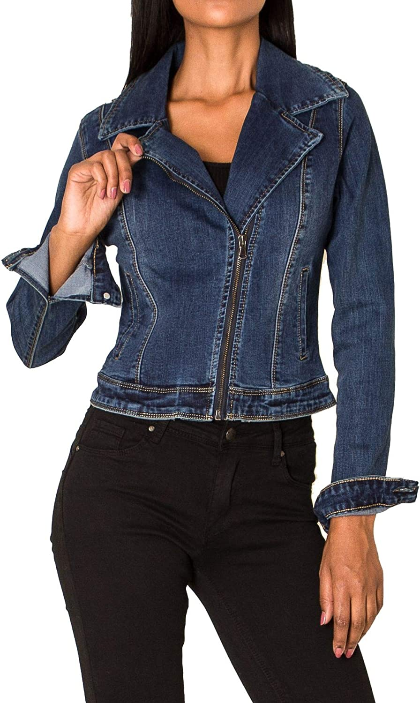 EGOMAXX Damen Denim Jeans Jacke Blazer /Übergangsjacke Kragen Hell Casual Design