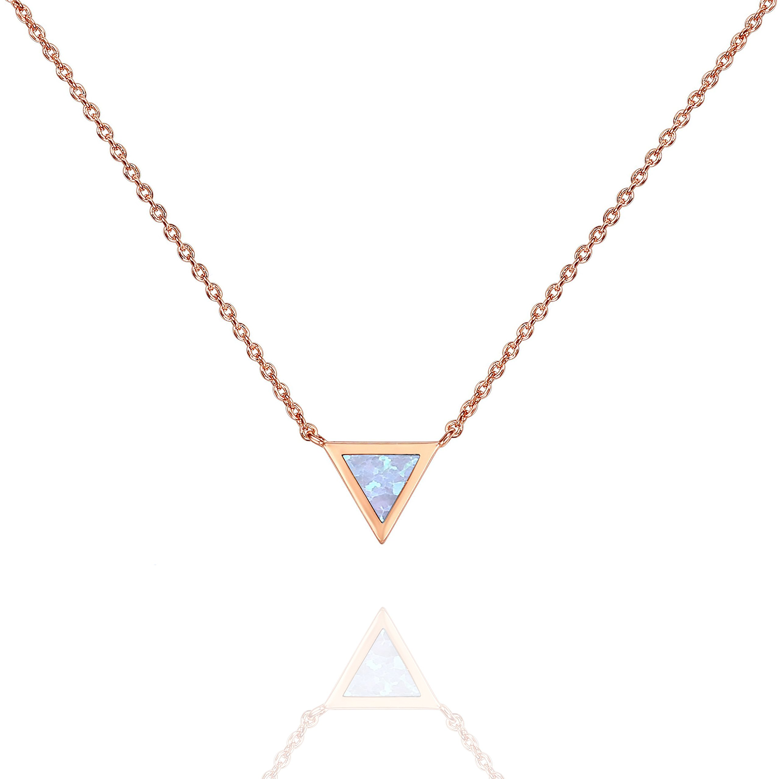 PAVOI 14K Rose Gold Plated Triangle Bezel Set White Opal Necklace 16-18''