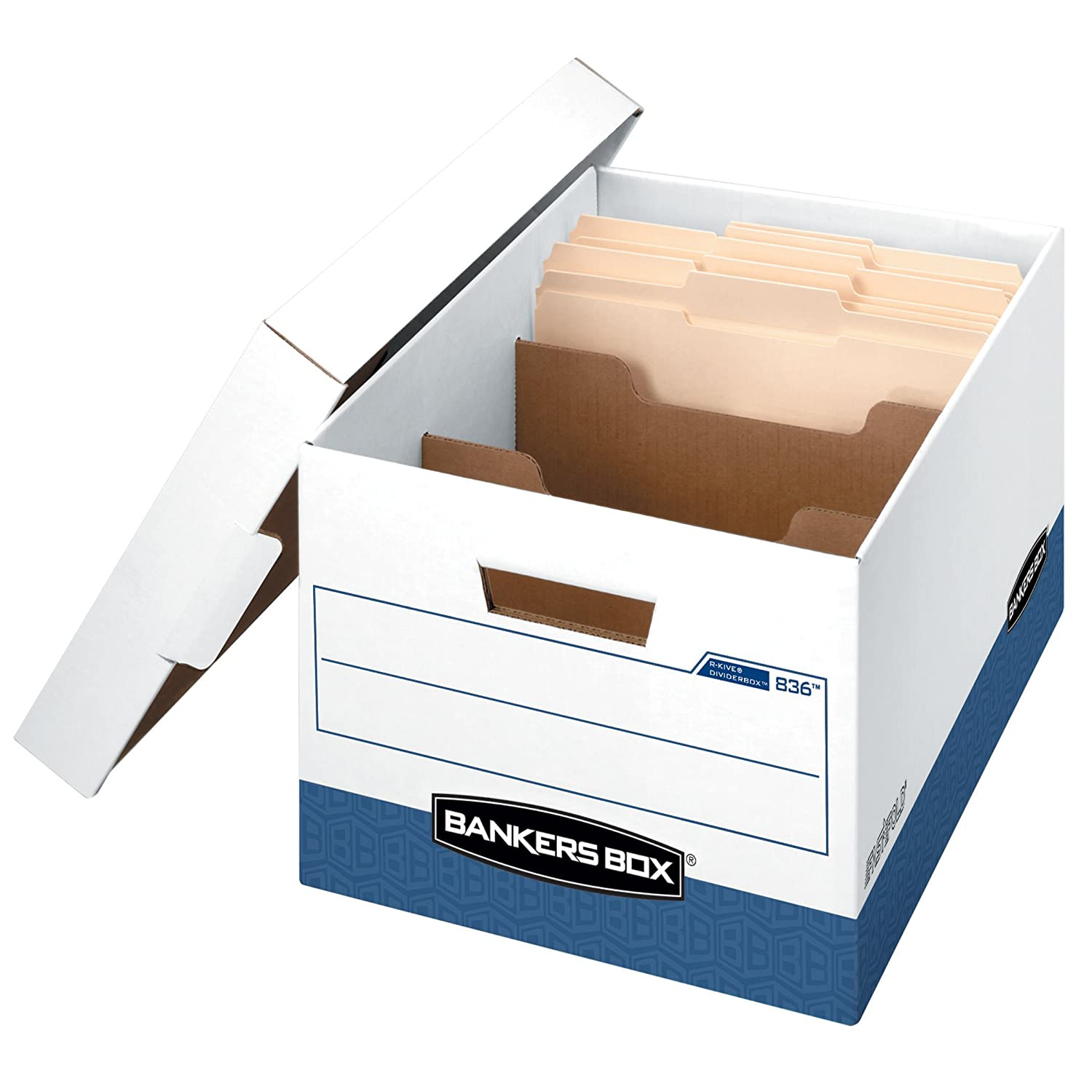 Bankers Box R-Kive Dividerbox Heavy-Duty Storage Boxes, Letter/Legal, 12 Pack (0083601) Fellowes 0083601