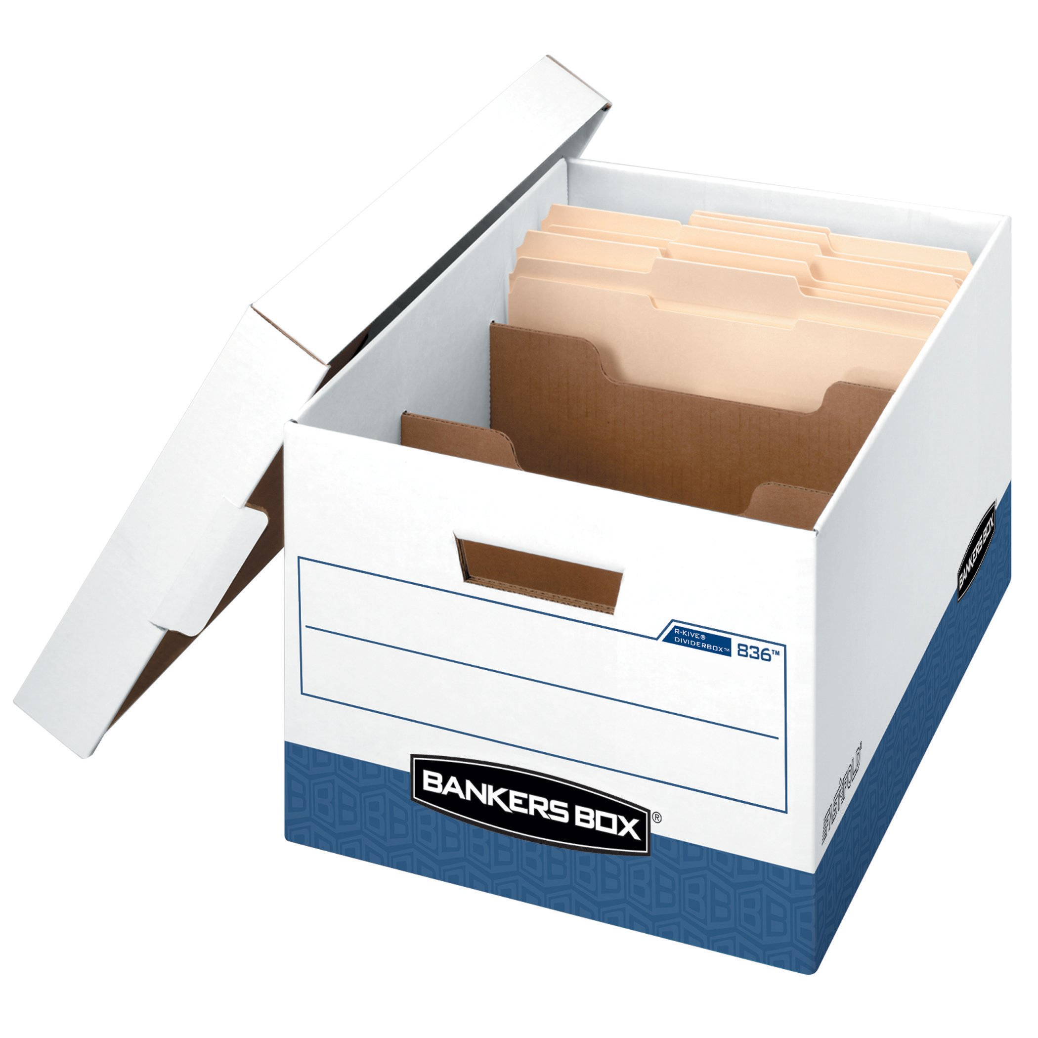 Bankers Box R-Kive Dividerbox Heavy-Duty Storage Boxes, Letter/Legal, 12 Pack (0083601)