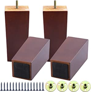 6 Inch Wooden Sofa Legs Set of 4, Brown Square Wood Furniture Feet Couch Legs, Mid Century Modern Dresser Replacement Feet for Chair Cabinet Armchair Recliner Table Or Home DIY Projects Bun Feet