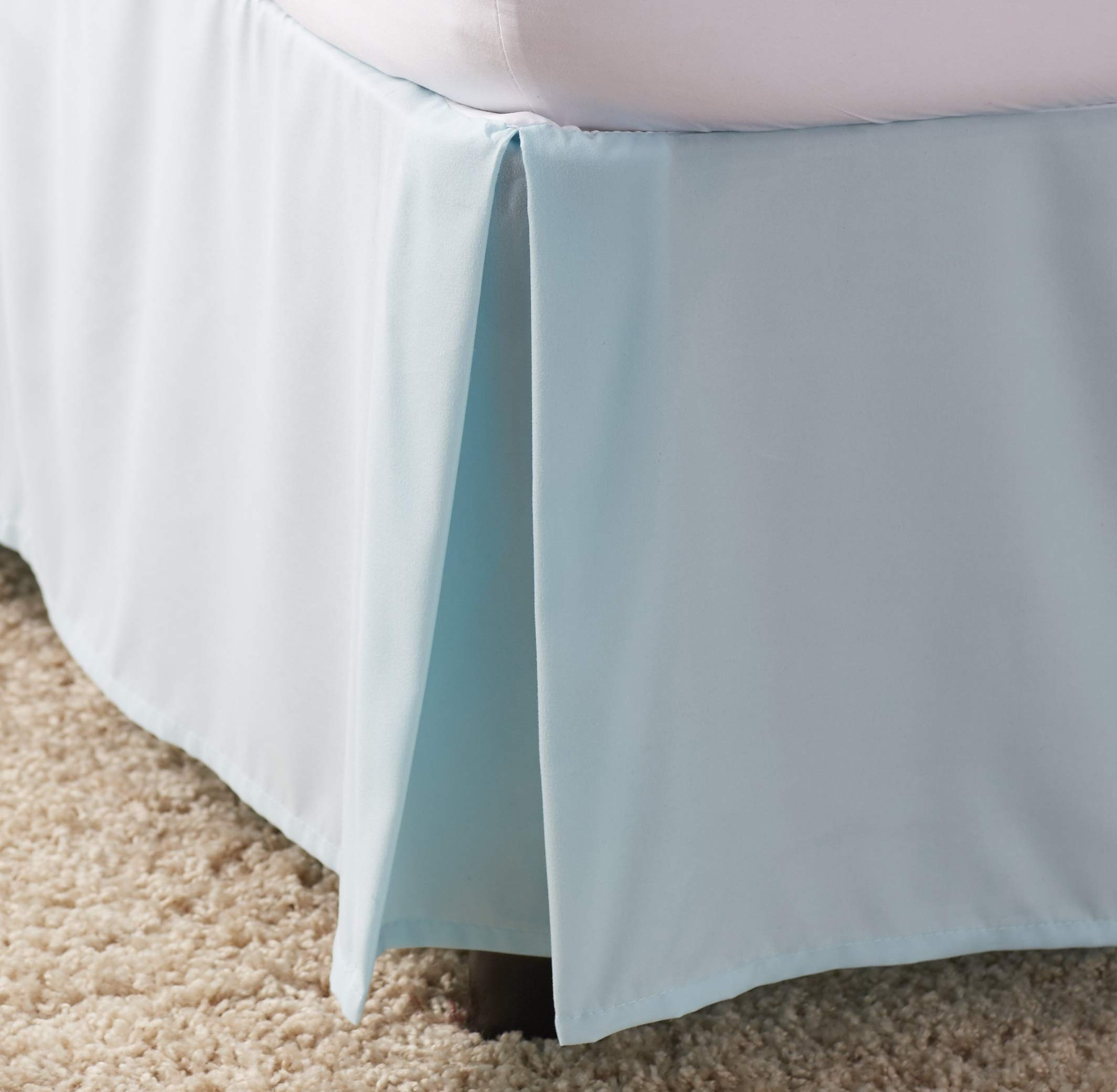 Ben & Jonah Simple Elegance 1500 Series Queen Size Solid Bed Skirt with 14'' Drop - Spa Blue