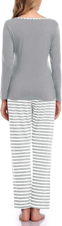 Aranmei Women Cotton Maternity Nursing Pyjamas Set for Hospital//Home Women Soft Long Sleeve Striped Shirts for Pregnant and Breastfeeding Sleepwear