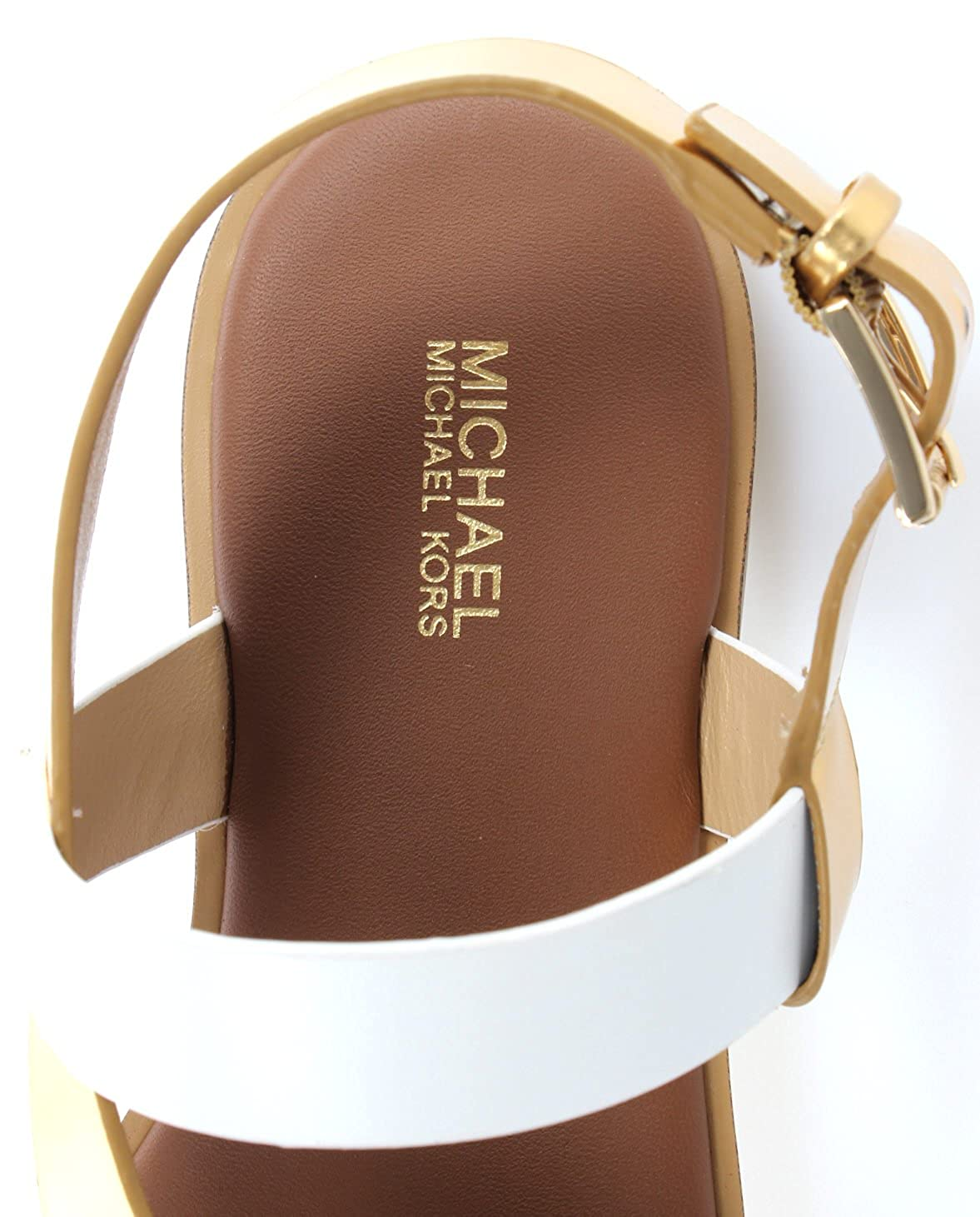 73e54c6bd14 Michael Kors Michael by Mackay Gold and Luggage Flat Sandal  Amazon.co.uk   Shoes   Bags