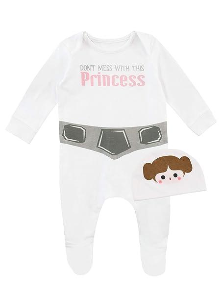Star Wars Pijama Entera con Gorro para Niñas Bebés Princesa Leia