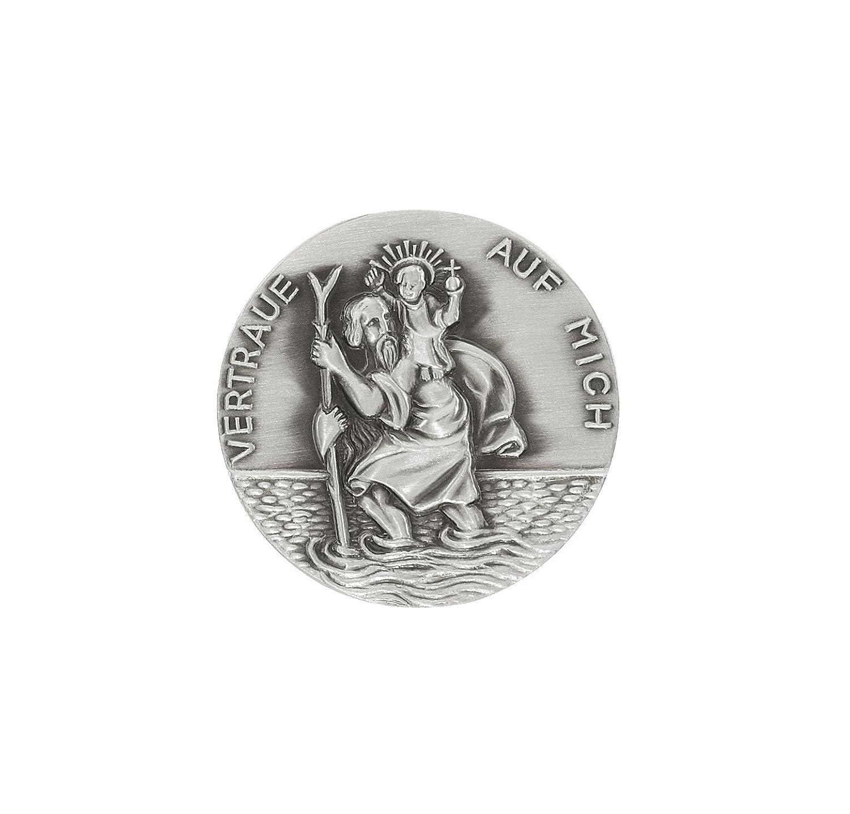 Hl. Christophorus 3,5 cm Plakette mit Schrift 'Vertraue auf mich', 999-feinversilbert, gesegnet und geweiht 5 cm Plakette mit Schrift Vertraue auf mich sunwheel