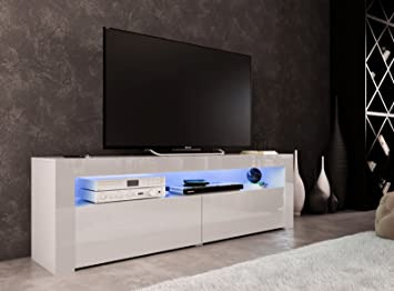 Modern High Gloss Tv Stand 155cm Cabinet White Grey Amazoncouk