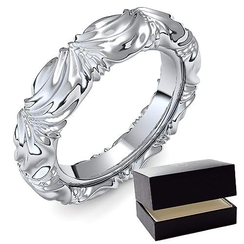 Oro blanco anillo de bodas/confíes anillo 750 + con Estuche + Porto anillo/