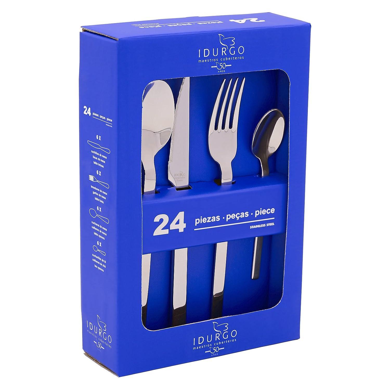 Idurgo 18500 TURIN - Set de 24 Cubiertos en Acero Inoxidable 18/10 Stranffor B6, Grosor 3 mm, Calidad Premier con Doble Pulido Brillo Espejo, ...