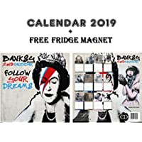 Banksy Square Wall Calendar 2019 + Banksy Fridge Magnet