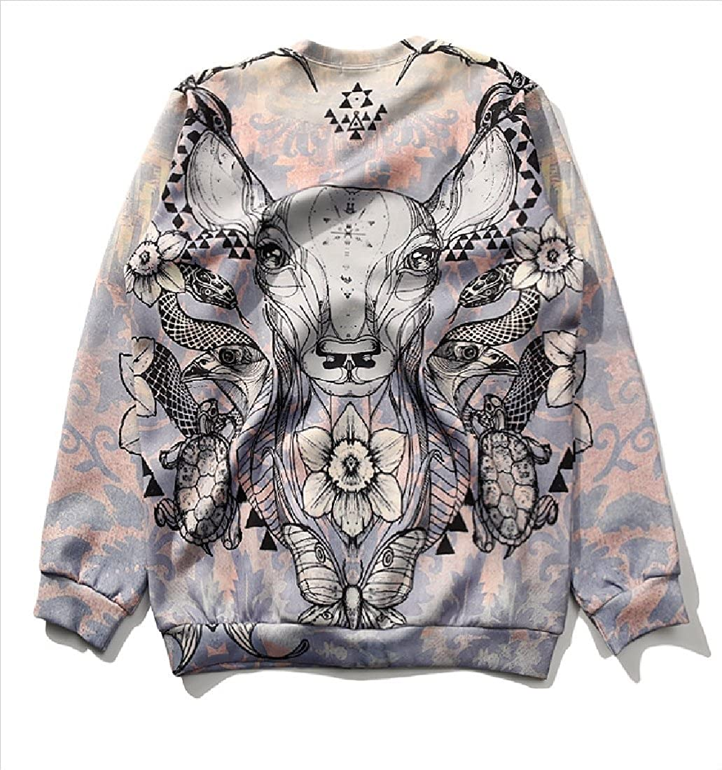 Yusky Womens Comfy Floral Printed Relaxed Pullover Sweatshirt