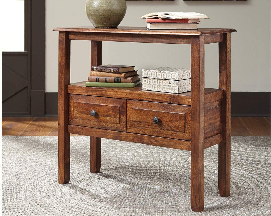 Ashley Furniture Signature Design – Abbonto Accent Table w 2 Drawers – Warm Brown Finish – Dark Pewter Handles