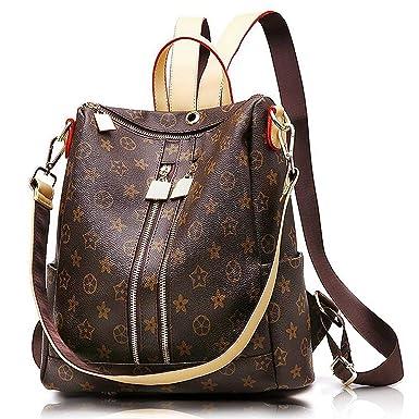Olyphy Designer Leather Backpack, Fashion Leather PU Daypack Casual Large Capacity Rucksack for Women: Amazon.co.uk: Clothing