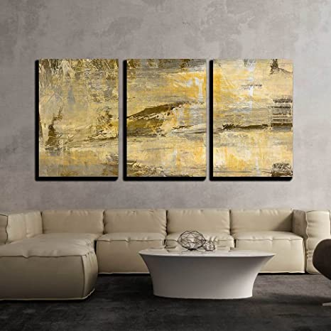 Amazon Com Wall26 3 Piece Canvas Wall Art Art Abstract Acrylic Background In Beige Yellow Grey And Brown Colors Modern Home Art Stretched And Framed Ready To Hang 16 X24 X3