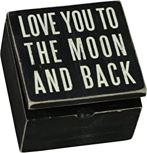 Primitives by Kathy 17931 Classic Black and White Hinged Box, 4 x 4 x 2.75-Inches, to The Moon and Back