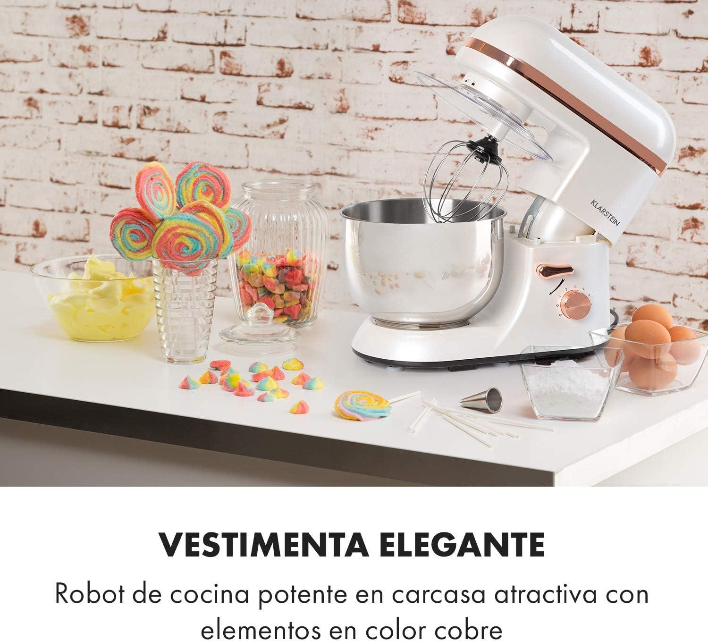 Klarstein Bella Elegance - Robot de cocina, Potencia 1300W/1,7PS, 6 niveles, Función pulso, Sistema de amasado planetario, 5 L, Cuenco acero inoxidable, Inclinación, Bloqueo de seguridad, Blanco: Amazon.es: Hogar