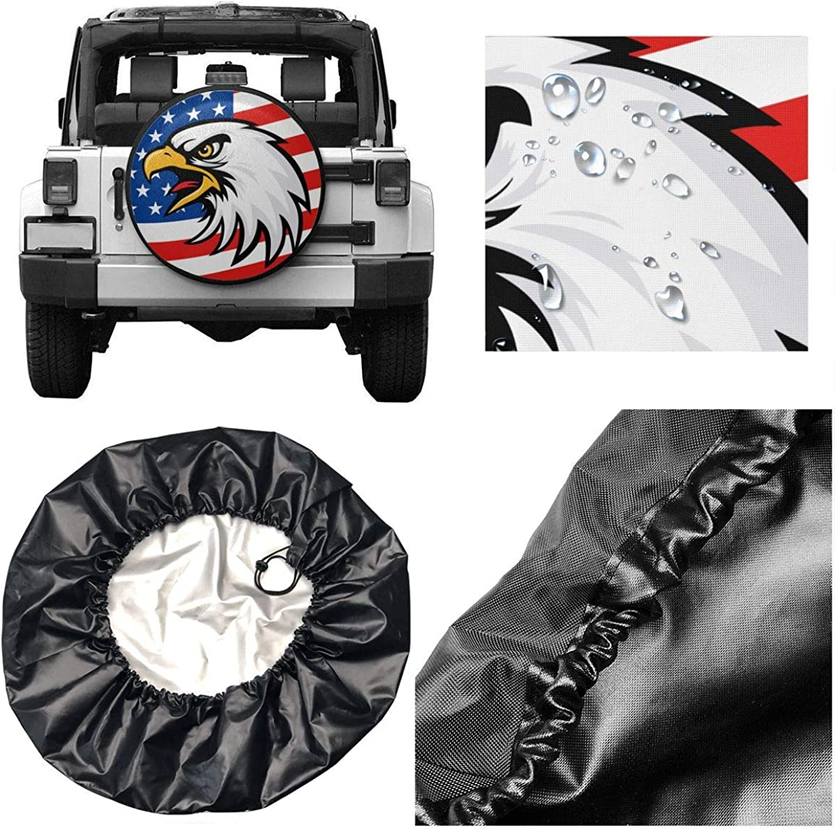 YZ-MAMU American Flag Eagle Spare Tire Cover Waterproof Dust-Proof for Jeep Trailer RV SUV Truck and Other Vehicles