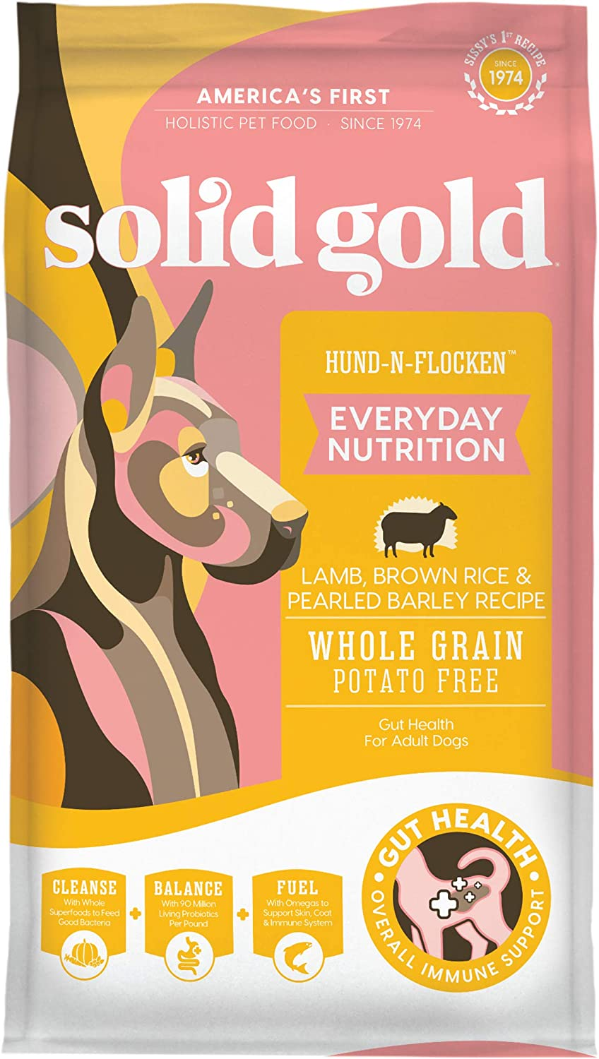 Solid Gold Hund-N-Flocken with Real Lamb, Brown Rice & Barley - Whole Grain - Holistic Adult Dog Food with Probiotic Support - 4lb Bag