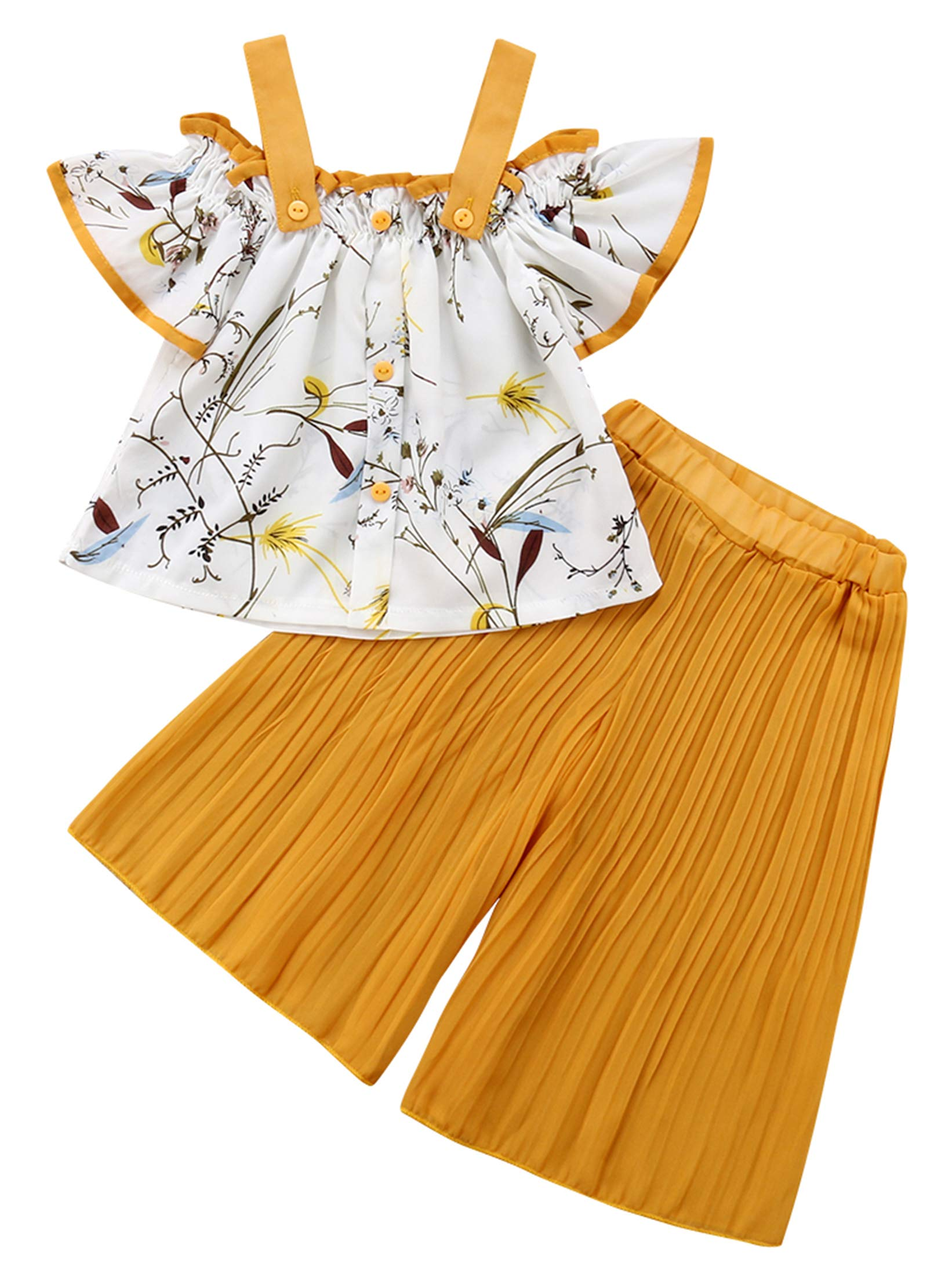83d3ee2c7b8 1-6T Baby Girl Yellow Pleated Wide Leg Palazzo Pants Outfits Adjustable  Halter Straps Off Shoulder Floral Vest Tops 2pcs Fall Outfit (Yellow