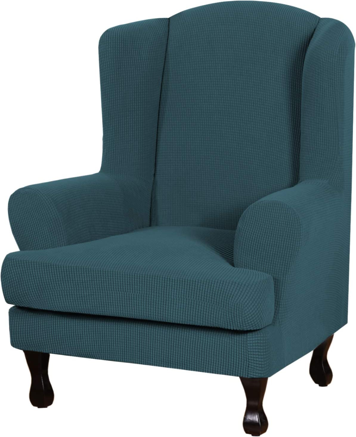 H.VERSAILTEX 2 Piece Wingback Chair Slipcover Wing Chair Sofa Cover Arm Chair Furniture Cover Slipcover High Stretch Modern Spandex Knitted Jacquard Fabric Stay in Place Machine Washable, Deep Teal