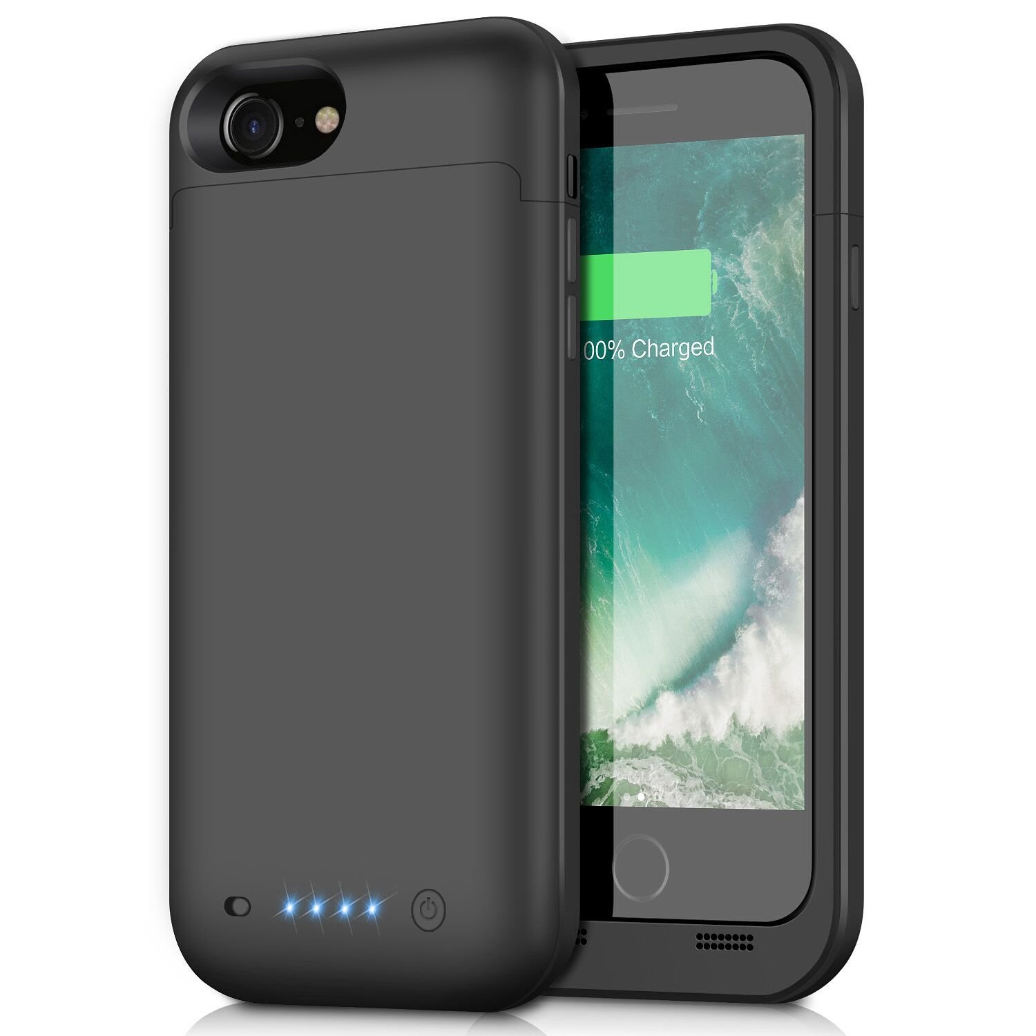 iPhone 8/7 Battery Case,4500mAh Portable Rechargeable Battery Pack Charger Case for Apple iPhone 8 iPhone 7 Extended Charging Bank Backup Ultra Slim (Black) by Pxwaxpy (Image #1)