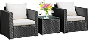 Tangkula 3 Pieces Patio Furniture Set, PE Rattan Wicker Sofa Set w/Washable Cushion and Tempered Glass Tabletop, Outdoor Conversation Furniture for Garden Poolside Balcony (Black)