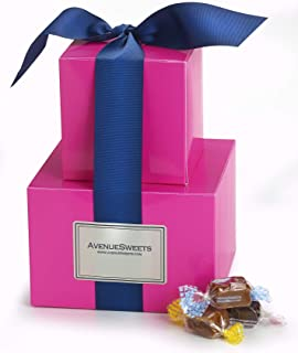 product image for AvenueSweets - Handcrafted Individually Wrapped Soft Caramels - Bright Pink 2 lb Gift Tower - Customize Your Flavors