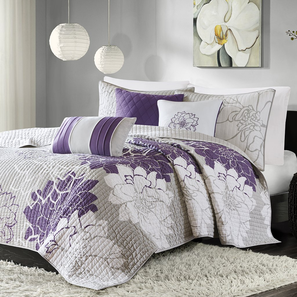 Madison Park MP13-2313 Lola 6 Piece Quilted Coverlet Set, King/California King, Grey/Purple
